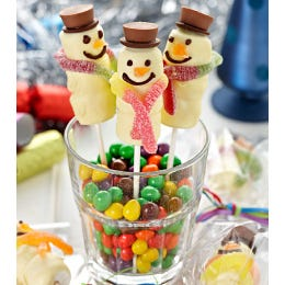 Alisonメs Scruffy White Chocolate Coated Marshmallow Snowmen