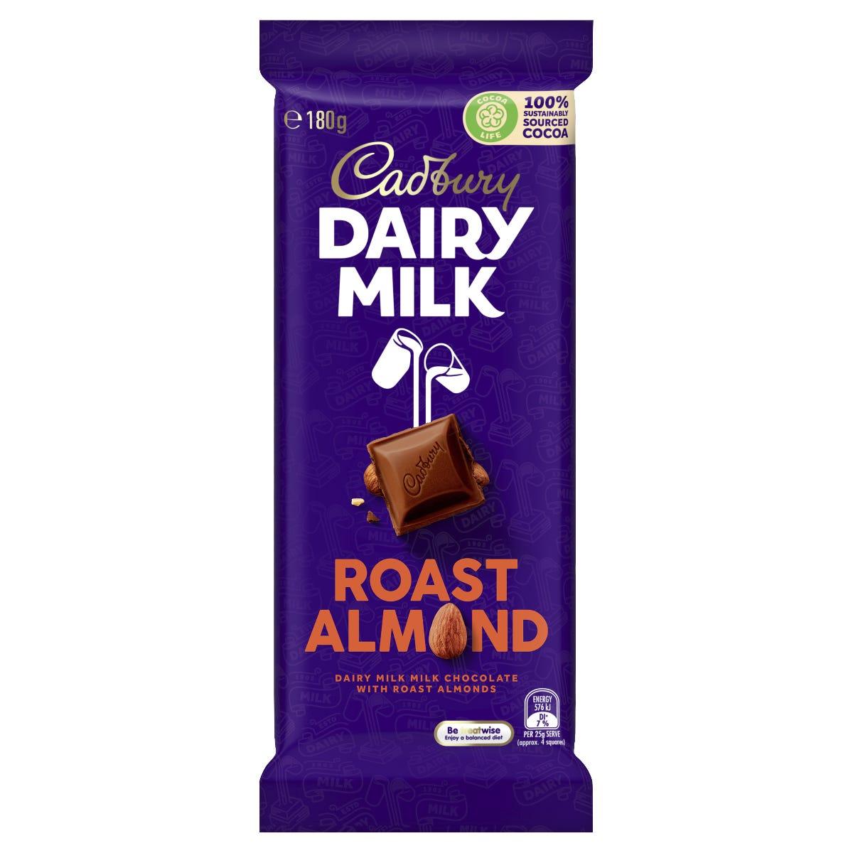 Cadbury Dairy Milk Roast Almond milk chocolate block 180g