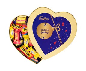 Cadbury Favourites Heart Shaped Tin  - Season's Greetings