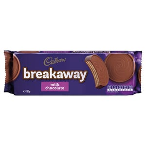 Cadbury Breakaway Milk Chocolate biscuits 180g