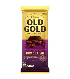Cadbury Old Gold Dark Chocolate Old Jamaica Rum N Raisin 180g