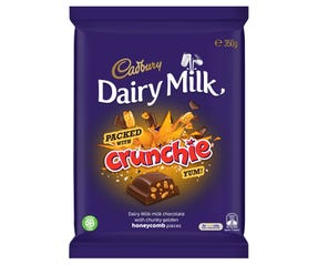 Cadbury Dairy Milk Packed with Crunchie milk chocolate block 350g