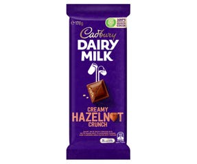 Cadbury Dairy Milk Creamy Hazelnut Crunch milk chocolate block 170g