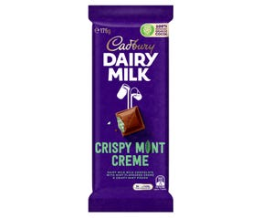 Cadbury Dairy Milk Crispy Mint Creme milk chocolate block 175g