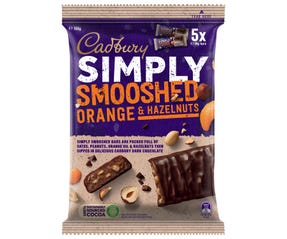 Cadbury Simply Smooshed Orange & Hazelnuts 150g