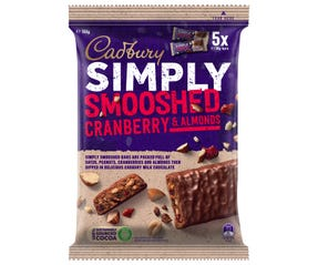 Cadbury Simply Smooshed Cranberry & Almonds 150g